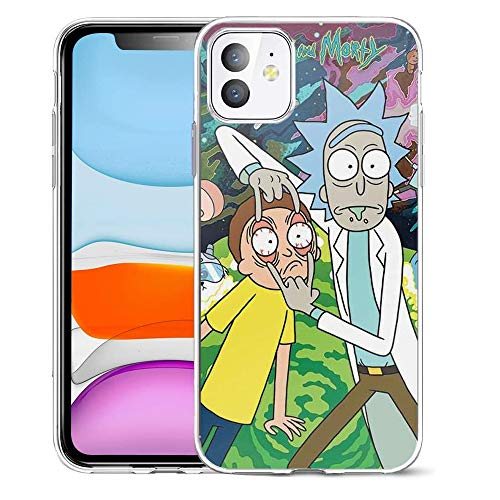 Pengyou Transparent Soft TPU Protective Cover Pure Pure Clear Anti-Scratch Case Compatible for iPhone 11 Morty Artwork Rick