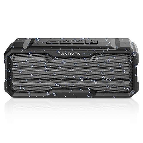 Andven 20W Altavoz Bluetooth 5.0 Exterior Portátil con Mic & Sonido Estéreo, Polvo y Nieve&Impermeable IPX6, 20H de Batería, AUX/TF/USB, para Móvil, Tabletas, Viajes, Aire Libre
