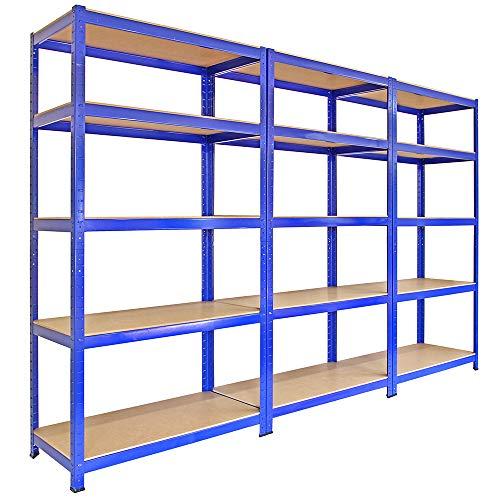 Garage Shelving Units | 3 Bay Heavy Duty Racking Steel Shelves Storage Metal Utility Racks 90cm x 45cm x 182.5cm Workshop Shed Office 280kg Capacity Per Shelf Office Warehouse 1400kg Per Bay Blue