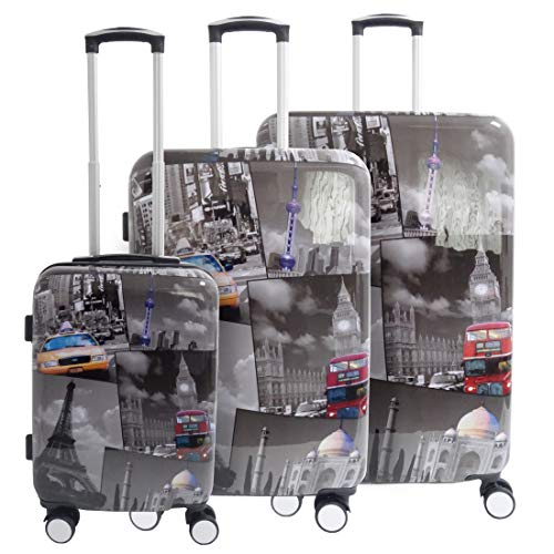 5 Cities Hard Shell Travel Trolley Hold Check in Luggage Suitcase with 4 Wheels (3 PCS)
