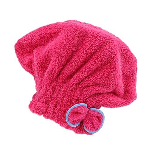 Fenteer Bonnets De Bain en Microfibre à Séchage Rapide, 19 X 24 Cm - Rose Rouge