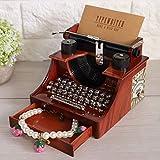 Raguso Caja de joyería mecánica estilo máquina de escribir con cajón caja de música vintage caja de música regalo de cumpleaños para decoración del hogar juguete de oficina