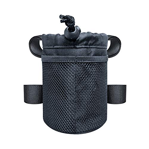 UCEDER 4 Mounting Straps Bicycle Handlebar Cup Holder,Bike Water Bottle Holder Bag Drink Holder with Mesh Pocket and Adjustable Buckle.Easy to Reach The Bottle Without Stopping Cycling. (6.3' Height)