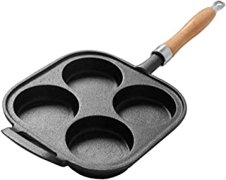 WD Cast Iron 20x20cm Frying Pan with 4 Dimples and Handle, Non-stick Egg Burger Pans