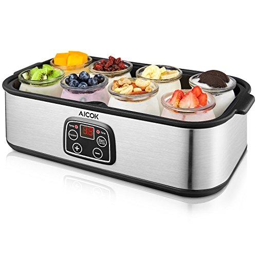 Yogurtera Aicok Yoghurt Hecho en Casa 8 Jarros de Vidrio 1440ml Pantalla LED con Ajuste de Temperatura y Temporizador Auto Apagado, Acero Inoxidable, 30W