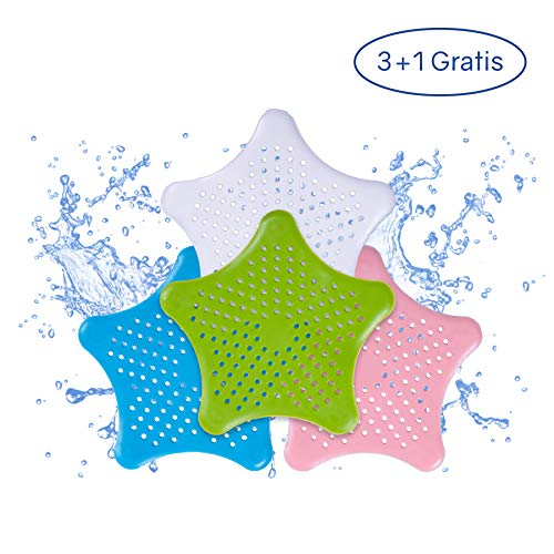PaWa Abflusssieb – 3 + 1 Gratis – Duschstern aus Silikon – Haarsieb für Bad und Küche (Mix)