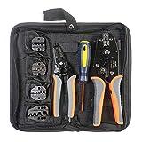 IWISS Crimpzange Kit für verschiedenen Art Terminals mit 5 Wechselhafte sterben Sets (Mit Abisolierzange und Kabelschneider)