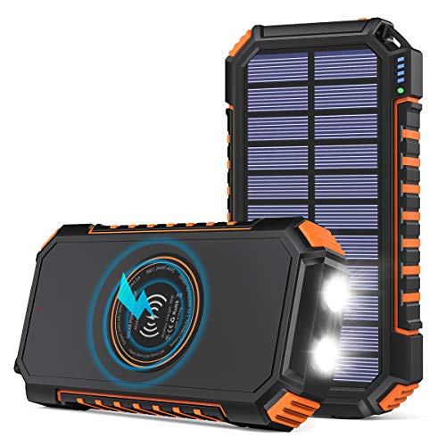 Hiluckey Cargador Solar 26800mAh Power Bank Portátil Inalámbrico con 4 Outputs Power Bank con USB C Carga Rápida para iPhone, iPad, Samsung