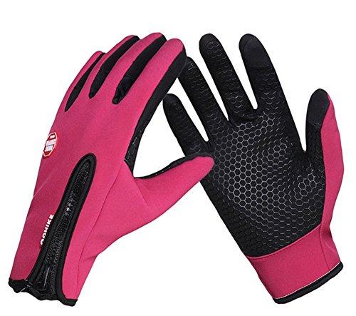 yaagle Unisexe Hiver extérieur chaleur imperméable Cyclisme Randonnée Escalade sport écran tactile Gants pour hommes femmes - rose, Small