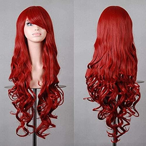 HTDYLHH Hermosas pelucas, peluca de cabeza sintética de fibra sintética, para mujer, pelo largo ondulado, para cosplay, fiesta, uso diario (color: D)