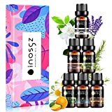 Inosgz Essential Oils Set Blends Oils Top 6 100% Pure Aromatherapy Diffuser Oils Therapeutic Grade Kit Rosemary Oils for Humidifiers,Sleep,Stress Relieve,Breathe Easy,Anxiety Relief,Massage,6x10ML
