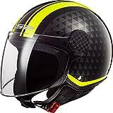 Casco moto LS2 OF558 SPHERE LUX CRUSH Nero HI VIS Giallo, Nero/Giallo, L