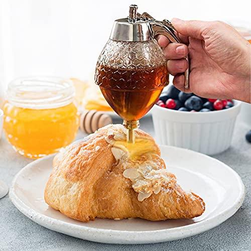Distributeur de miel, 200 ml Acrylique Honey Pot à nourriture Tasse Portable jus Abeille Pot de rangement d'égouttement Bouteille Outil de cuisson Craft