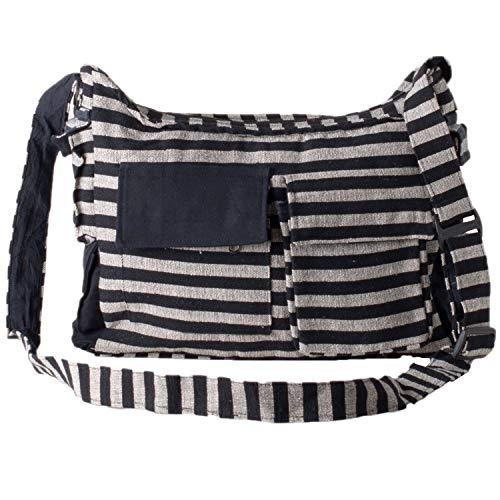 Vishes - Gestreifte Umhängetasche aus handgewebter Baumwolle (Schwarz Grau)