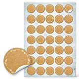 Logbuch-Verlag - 35 piccoli adesivi bianchi da scrivere con decorazioni bianche, effetto carta kraft, autoadesivi, diametro: 3,2 cm