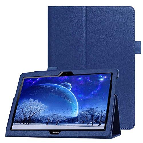FANSONG Custodia per Huawei MediaPad T3 10 in pelle PU, Smart Cover Huawei MediaPad T3 10 Ultra Sottile Con Slot per Penna - Auto Svegliati/Sonno Funzion Stand Smart Cover per T3 10 Huawei, Blu Scuro