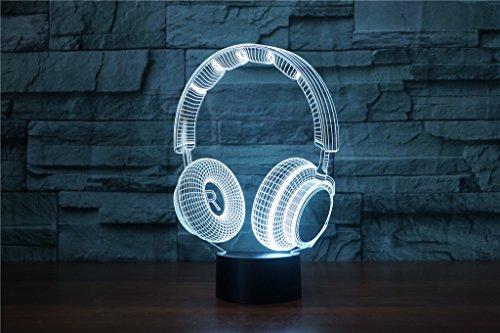 HYSENM 3D Nachtlampe LED Nachtlicht Dekoration Acryl für Kinderzimmer Wohnzimmer Musik-Serie, Kopfhörer