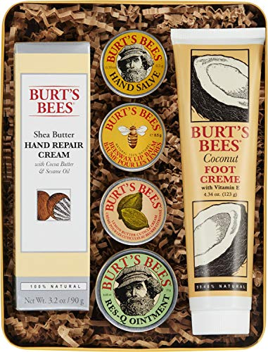 Burt的蜜蜂经典礼品套装,6种产品在可蜜锡皮肤霜,手工酱,润唇膏,Res-Q软膏,手部修复奶油和脚奶油