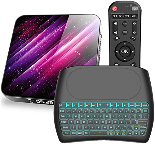 Android TV Box 10.0, H40 H616 Quad-core 64bits ARM Cortex-A53 Smart TV Box BT 5.0 WiFi de doble banda 2.4GHz 5.8GHz Ultra HD 1080P 4K 6K HDR USB 3.0 con teclado inalámbrico retroiluminado2 + 16G(Colo