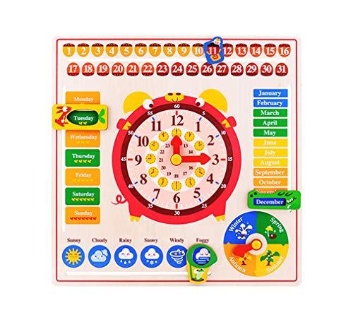 Yx-outdoor Rompecabezas cognitivo del Reloj Calendario Seis en uno de Madera, Cultivar la cognición de la Hora y la Temporada en inglés de los niños, Juguetes interactivos Montessori para Padres