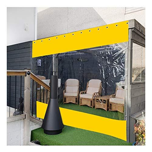 YJSMB Al Aire Libre Cortina, Gazebo De Jardín Transparente Panel Lateral Lluvia Y Viento Proteccion, Exterior Impermeable PVC Lona (Color : Yellow, Size : 4x3m/13.1x9.8ft)
