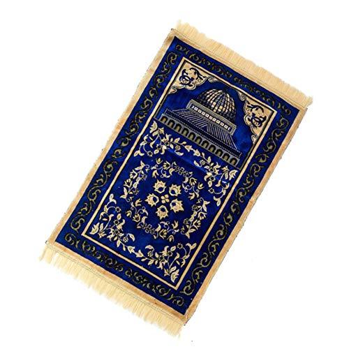 Tapis de prière musulmane - Luxueux tapis de prière islamique - En cachemire artificiel - Doux et rembourré - Décoration de chambre à coucher - Rectangulaire - Bleu