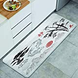 FOURFOOL Standing Mat Kitchen Rug,Red Japanese Asian Ink Brush Ornaments Watercolor Chinese Korean Bamboo,Entry Floor Carpet Door Mat Runner,Standing Rug for Laundry,Floor Home,Office,Sink