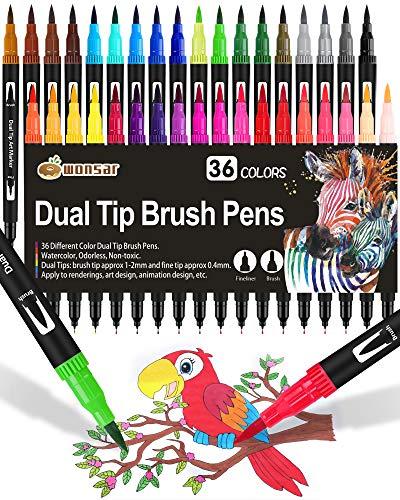 Dual Brush Pen Set, 36 Farben, Aquarell Pinselstifte Marker Doppelte Filzstifte für Bullet Journal Kinder, Handlettering, Kalligraphie, Mandala, Malbücher, Pinselspitzen [1-2mm] und Fineliner [0,4mm]