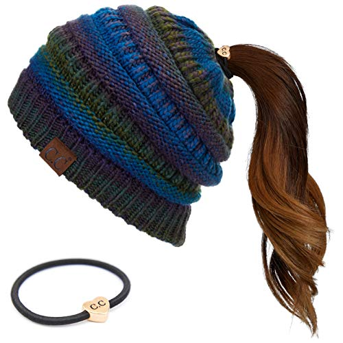 C.C Exclusives Soft Stretch Cable Knit Messy Bun Ponytail Beanie Winter Hat for Women Bundle with C.C Hair Tie (MB-705-R) (Teal Mix) (HAT-with CC Ponytail Holder)