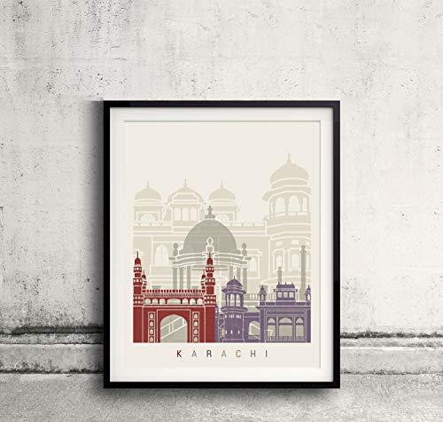 PAULROMMER Karachi Skyline Poster Lienzo Enrollado 12x18 Inches