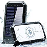 Solar Phone Charger 25000mAh Solar Charger for Cell Phone - Wireless Solar Power Charger Solar Powered Phone Chargers iPhone 6+Times - [Updated] Portable Power Bank -Solar Power Bank (Black) (Black)