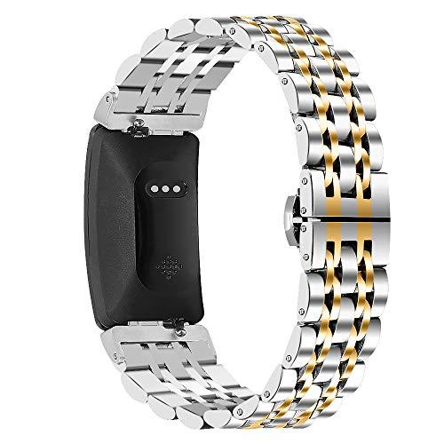Jennyfly Compatible con pulseras Fitbit Inspire para mujeres y hombres y mujeres, tamaño pequeño para muñecas de 5.5 a 8.5 pulgadas, correa de acero inoxidable, color plateado y dorado