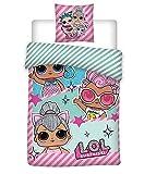 Familando LOL Bettwäsche-Set 135 x 200 cm 80 x 80 cm L.O.L. Surprise ! Kinderbettwäsche 100% Baumwolle Puppen (rosa-gestreift)