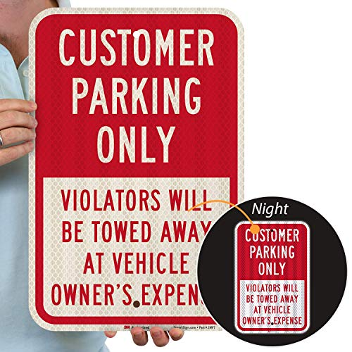 """SmartSign 18 x 12 inch """"Customer Parking Only - Violators Towed"""" Metal Sign, 63 mil Aluminum, 3M Laminated High-Intensity Grade Reflective Material, Red and White"""