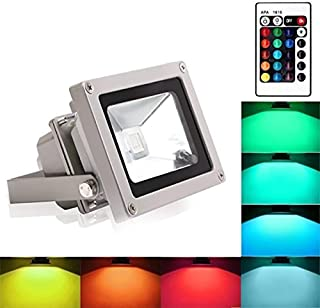 Blinngo RGB LED Flood Lights, 10W Color Changing Outdoor Spotlight with Remote Control, IP65 Waterproof Wall Washer Light,16 Colors 4 Modes Dimmable Stage Lighting with US 3-Plug