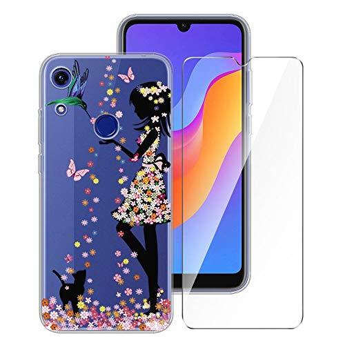 LJSM Hülle für Huawei Y6S + Panzerglas Bildschirmschutzfolie Schutzfolie - Transparent Weich Silikon Schutzhülle Crystal Flexibel TPU Tasche Hülle für Huawei Y6S (6.09