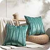 Top Finel Juegos 2 Hogar Cojín Terciopelo Suave Decorativa Almohadas Fundas de Color Sólido para Sala de Estar sofás 40x40cm Turquesa