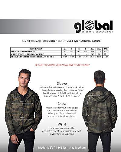 Global Men's Hooded Lightweight Windbreaker Rain Jacket Water Resistant Shell, Black, XS