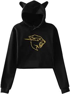 Mr Beast Yellow Ladies Hooded Long Sleeve Cute Cat Ear Hoodie Sweatshirt