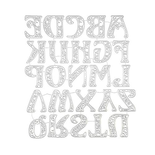 Alinacutle Metal Die Cut , DIY Cutting Dies,Paper Craft Die-Cuts,Scrapbooking Cutting,Handmade Card Metal Punch Template,5CM High, 52PC , Alphabet Dies,