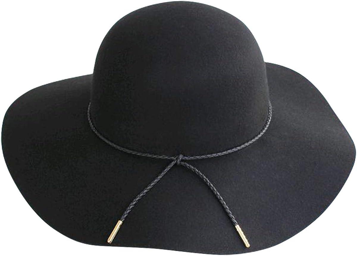 Lanzom Women Lady Retro Wide Brim Large Floppy Panama Hat Belt Wool Fedora Hat (A-Black, One Size) at  Women's Clothing store