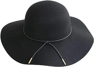 Women Lady Retro Wide Brim Floppy Panama Hat Belt Wool Fedora Hat