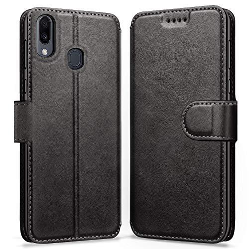 ykooe Handyhülle für Samsung Galaxy M20 Hülle, Schwarz Leder Schutzhülle für Samsung Galaxy M20 Flip Hülle Tasche