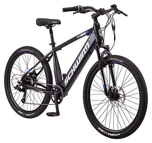 Schwinn Amalgam Adult Electric Bike, 18.5-Inch Hybrid Aluminum Frame, 7 Speed, 27.5-Inch Wheels, 375Wh Battery, Matte Black