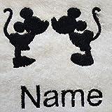 Peignoir blanc pour adulte avec logo Silhouette Disney, personnalisable avec un nom de votre choix - Taille M, L, XL ou XXL,...