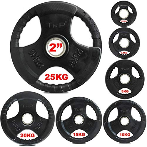 TnP Accessories. Olympic Weight Plates Rubber Coated Cast Iron Weights Plate Set – Tri Grip Radial – 1.25kg 2.5kg 5kg 10kg 15kg 20kg 25kg TriGrip Disc (15KG Pair)