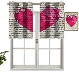 Hiiiman Cortinas cortas, protección de privacidad, texto en inglés 'Love', juego de 2, 137 x 61 cm, cortinas para ventana para baño, cocina, sala de estar