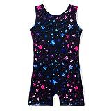 MYQFF Gymnastics Leotards Apparel for Girls with Shorts 3t 4t 3 4 Years Old Sparkly Dancewear Activewear Dance Unitard Biketard Black