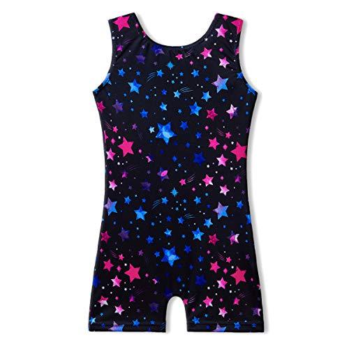 MYQFF Black Leotards for Girls Gymnastics with Shorts 5t 6t Sparkle Star Dance Leotards Biketards Size 5 6