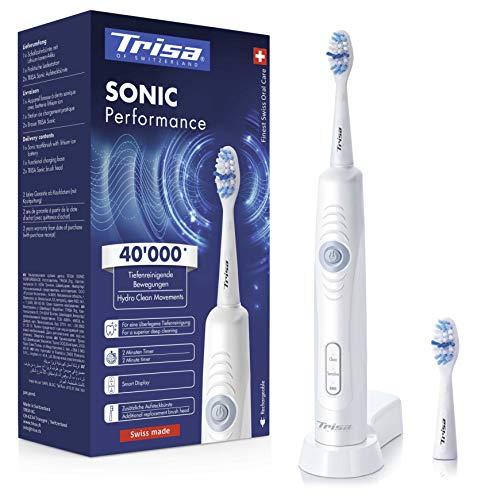 Trisa Sonic Performance, elektrische Zahnbürste mit neuer Schalltechnologie. Überlegene Reinigung mit bis 40'000 Schallbewegungen. Schallzahnbürste entwickelt und hergestellt in der Schweiz.
